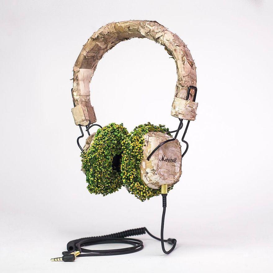 nature sculpture headphone monsieur plant