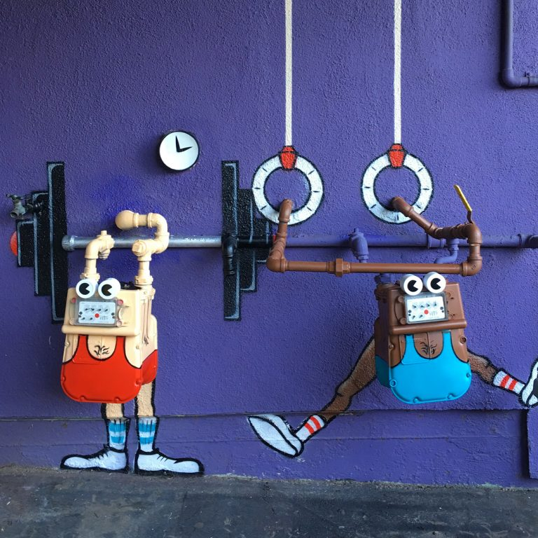 funny street art painting tom bob