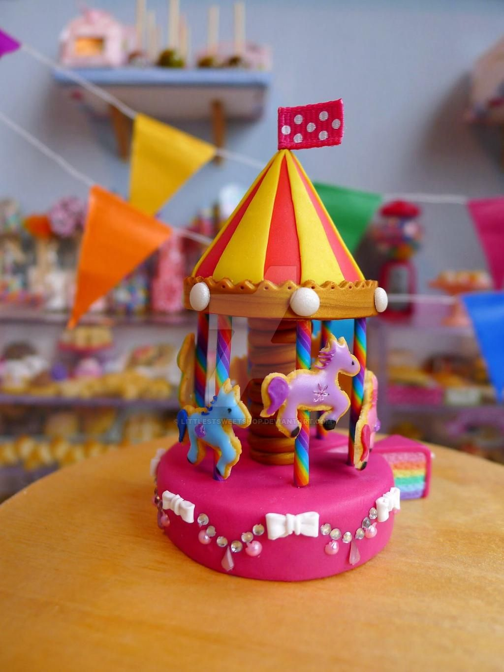 minature cake rainbow carousel littlestsweetshop
