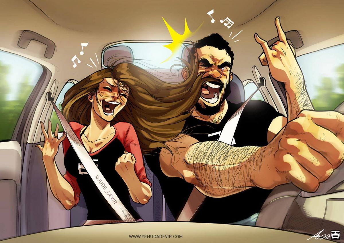comic illustration couple relationship husband wife yehuda devir