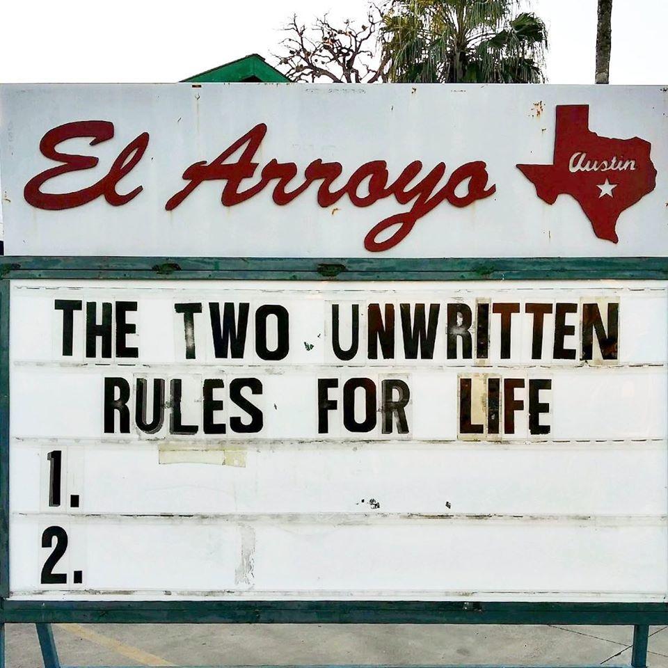 funny marquee sign el arroyo