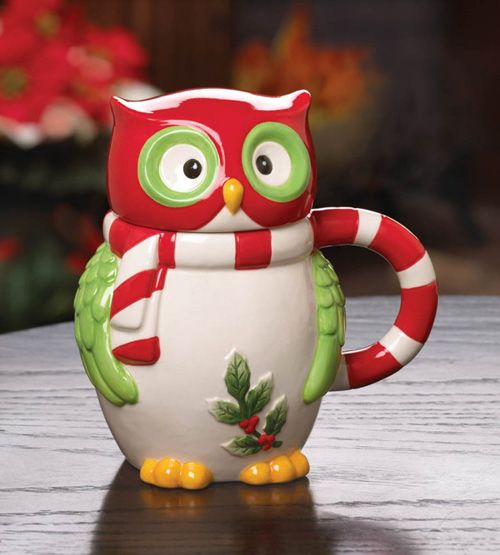 funny unusual shape coffee mug owl