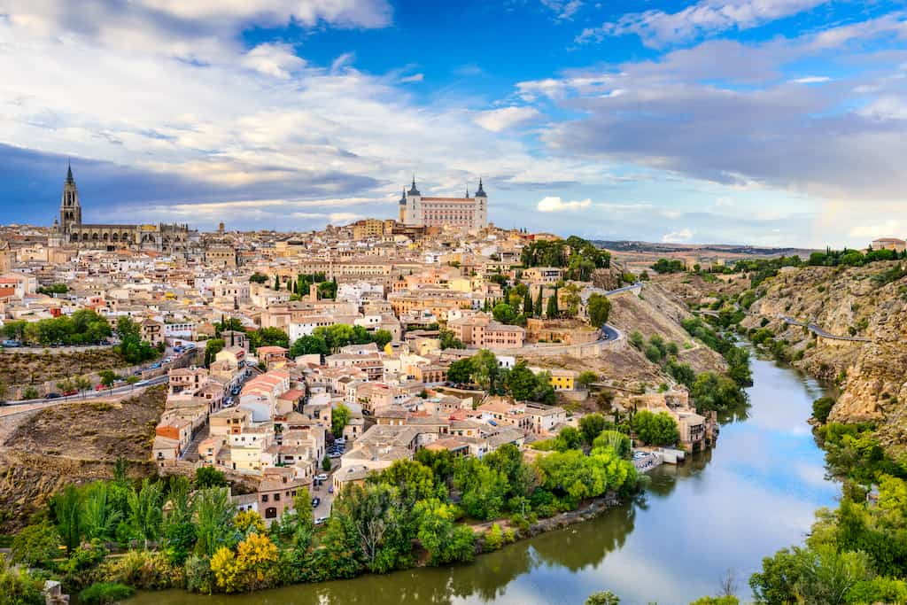 ancient city hill toledo beautiful tourist place spain