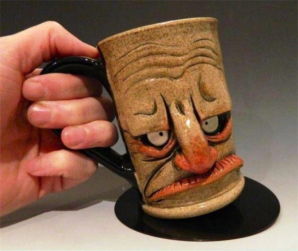 funny mug design angry face