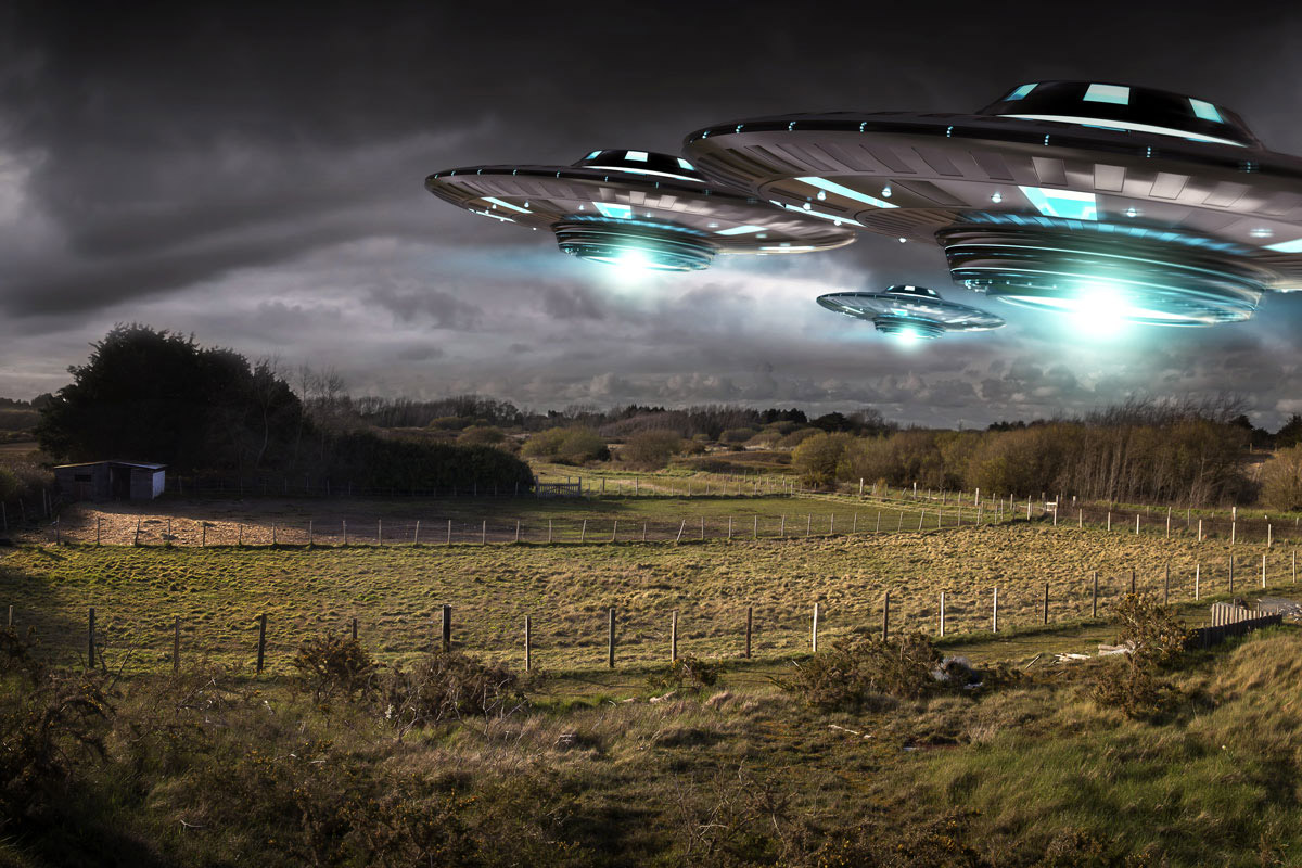 ufo picture over field