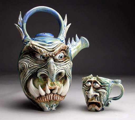funny mug monster face graftonpottery