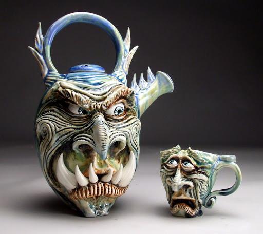 funny mug monster face graftonpottery