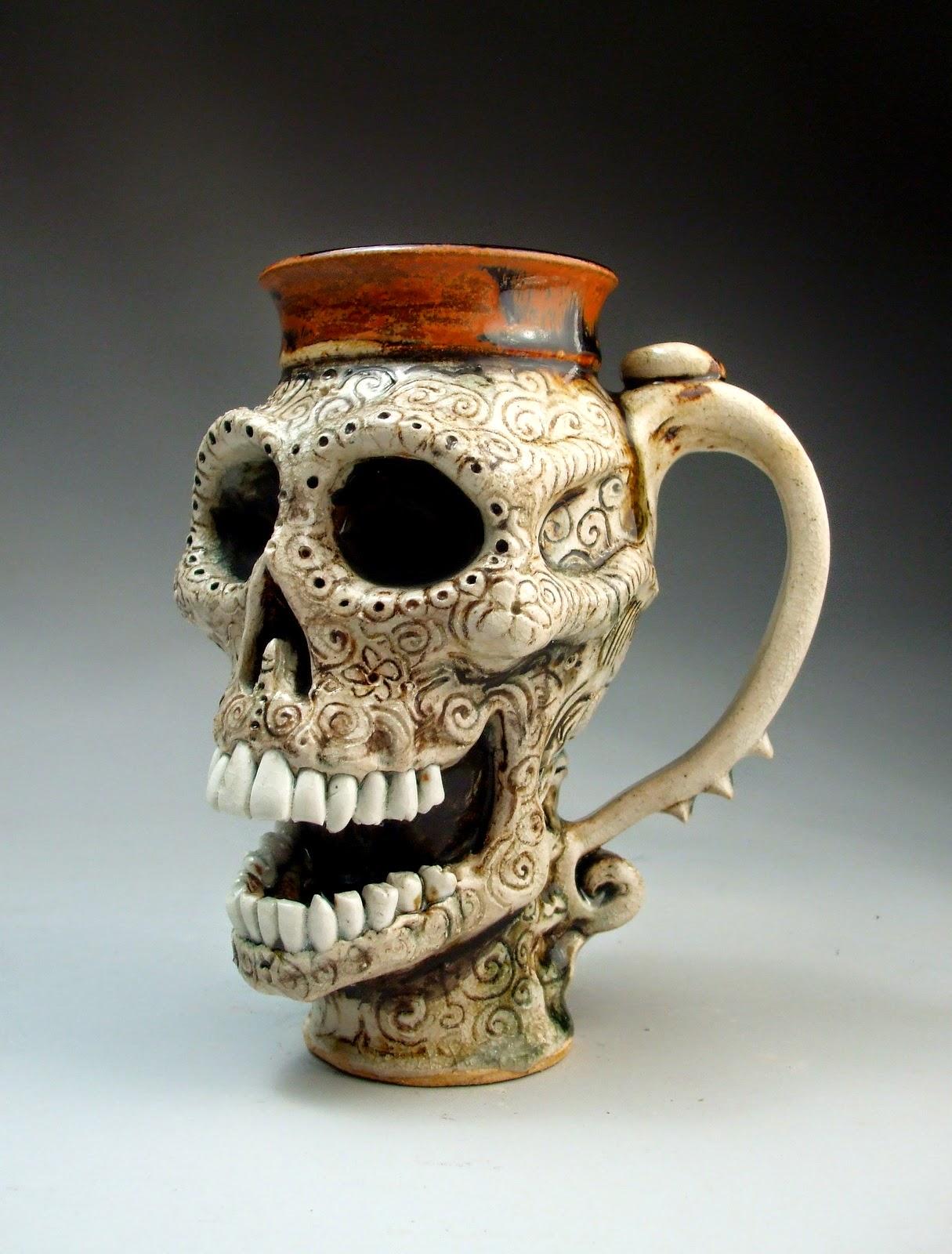 funny mug skeleton face graftonpottery