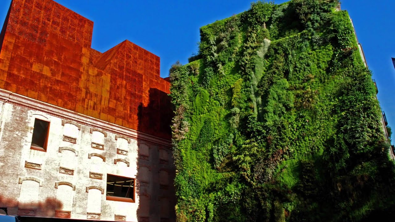 vertical garden caixaforum beautiful tourist place spain