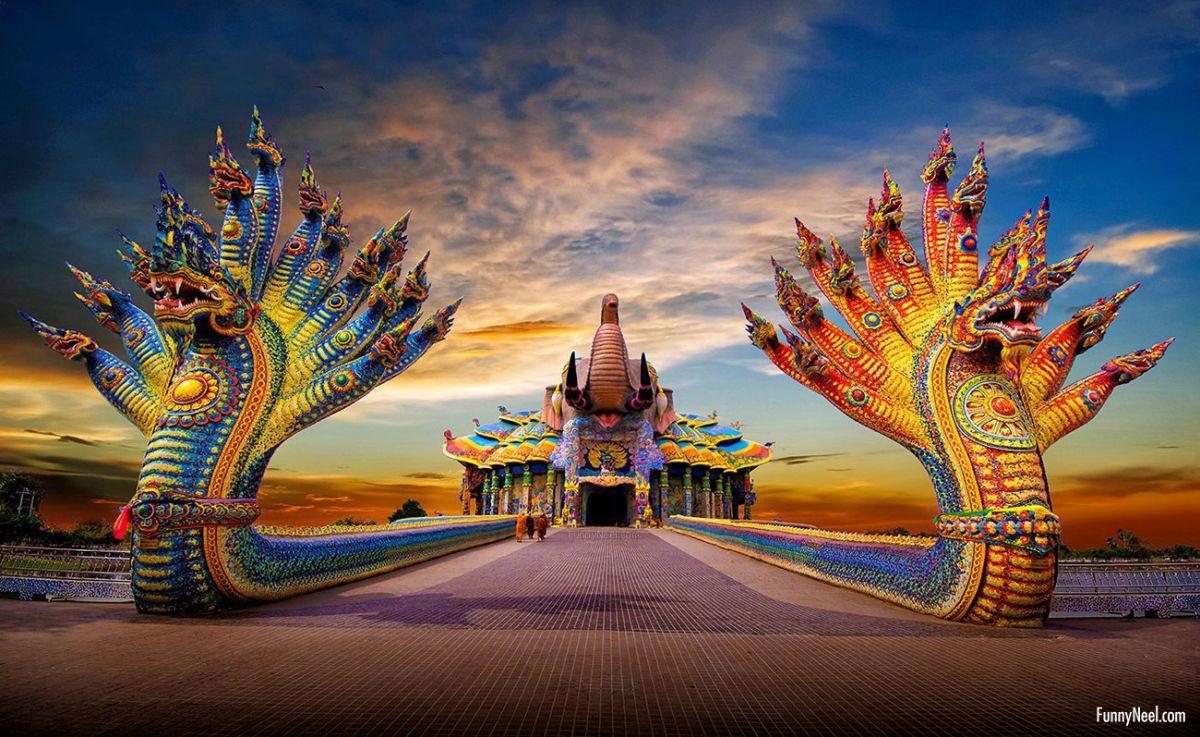 beautiful wihan thepwitthayakhom wat ban rai temple thailand