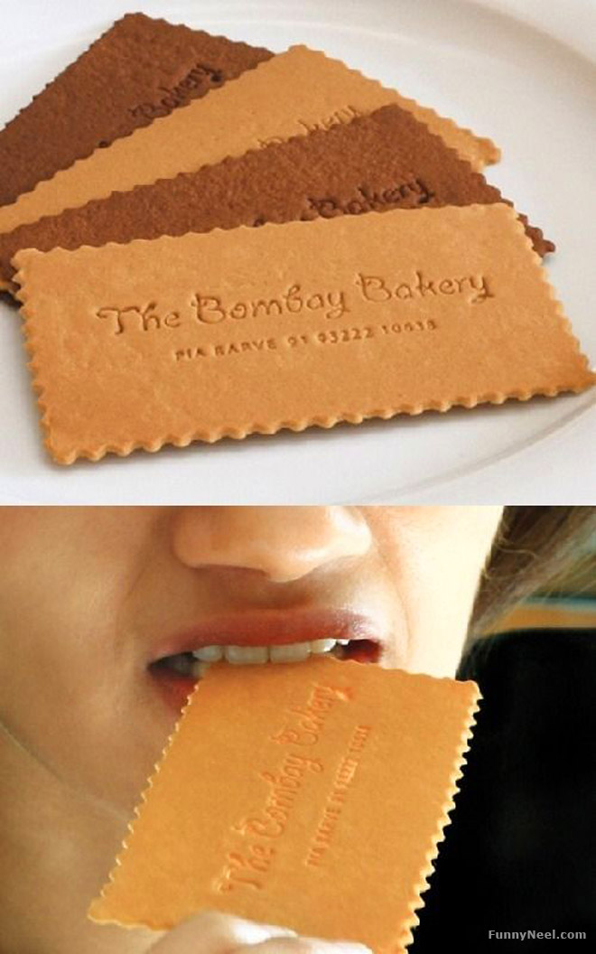 funny business card biscuit eat