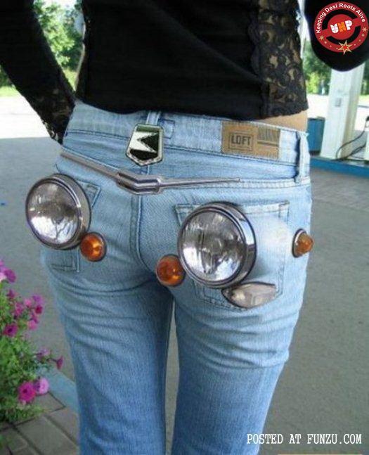 funny pant car headlight