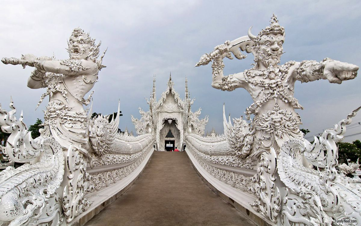 beautiful wat rong khun temple image thailand