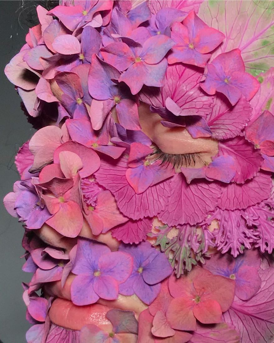 funny and weird costume made out flower katya