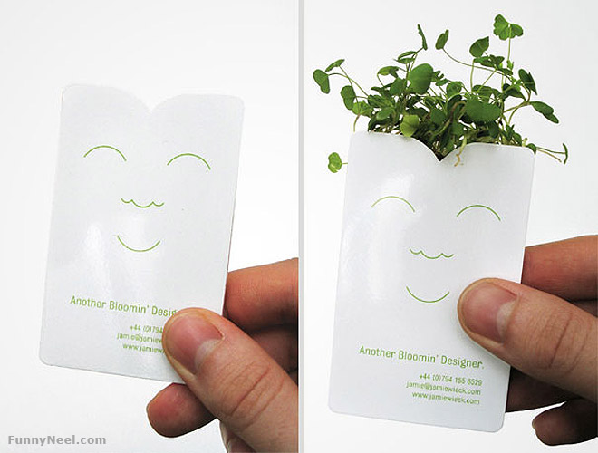 funny business card sprouts