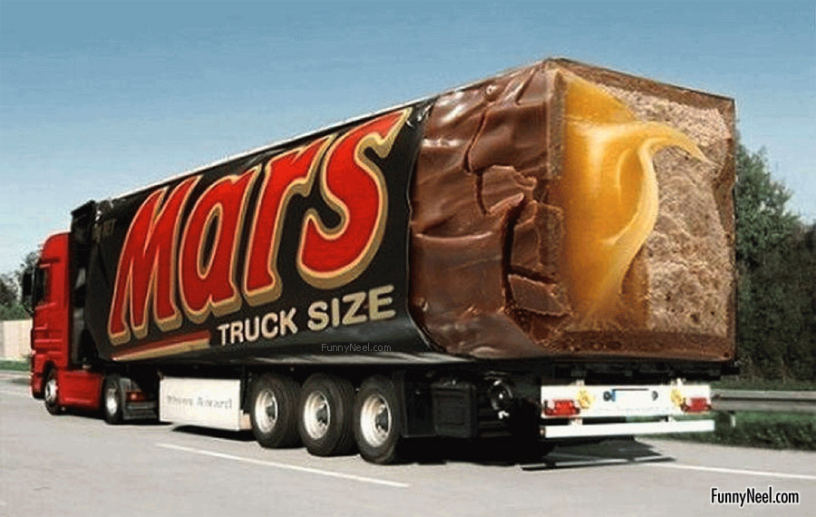 funny chocolate mars truck