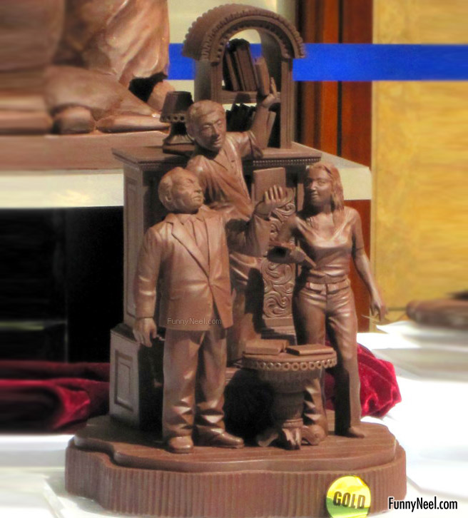 funny chocolate sculpture people