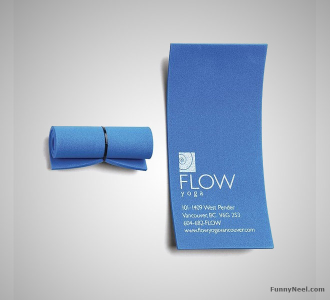funny business card yoga mat
