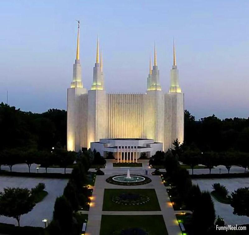 beautiful white temple pristine