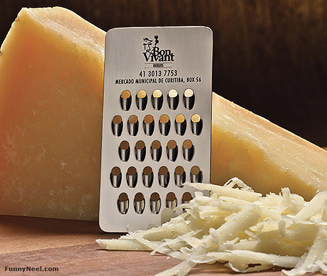 funny business card cheese grater