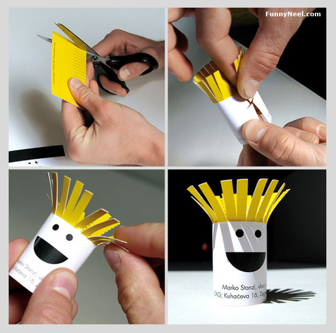funny business card pen stand