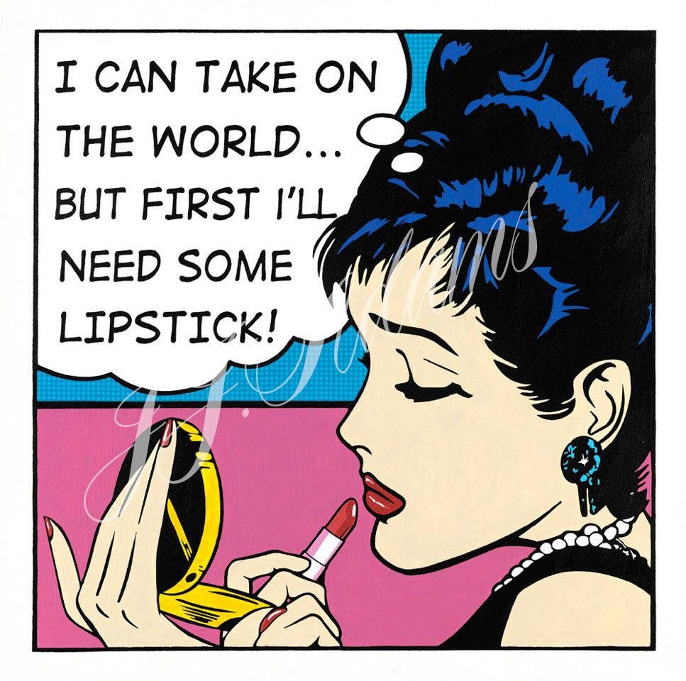 comic illustrations lipstick woman