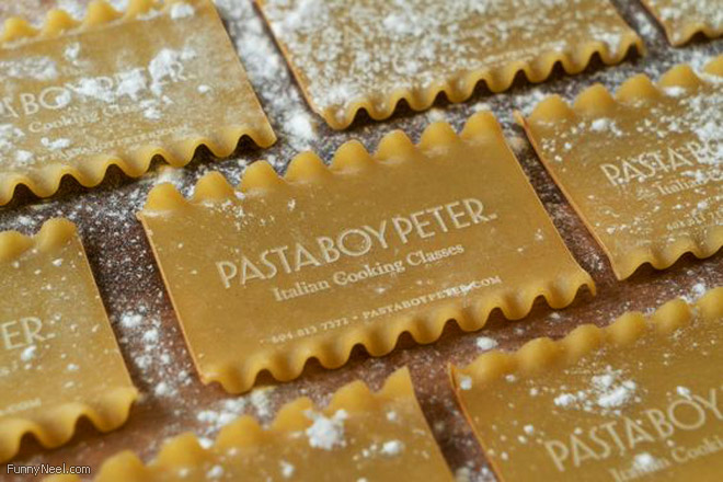 funny business card edible pasta