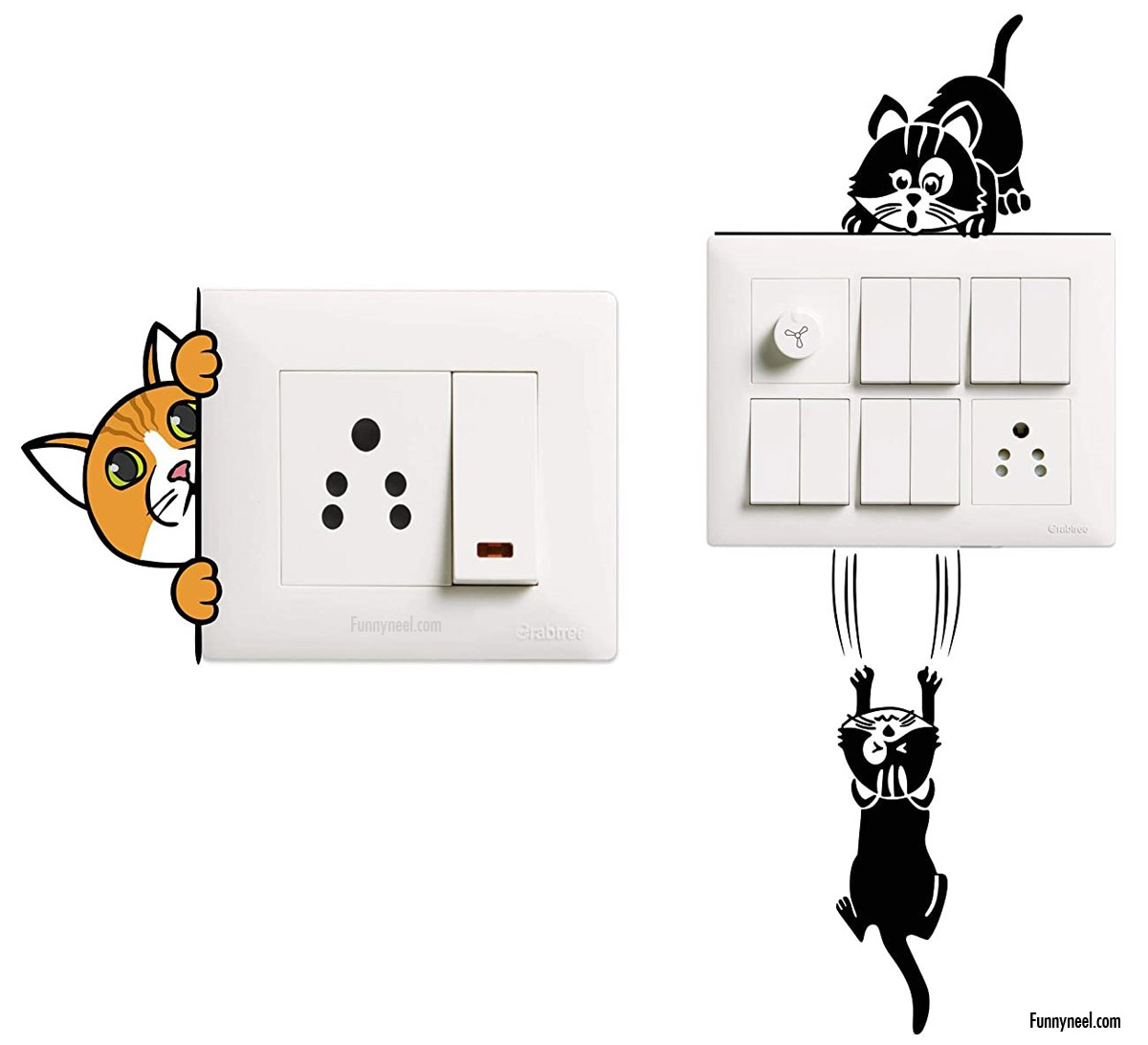 funny stickers cat switch