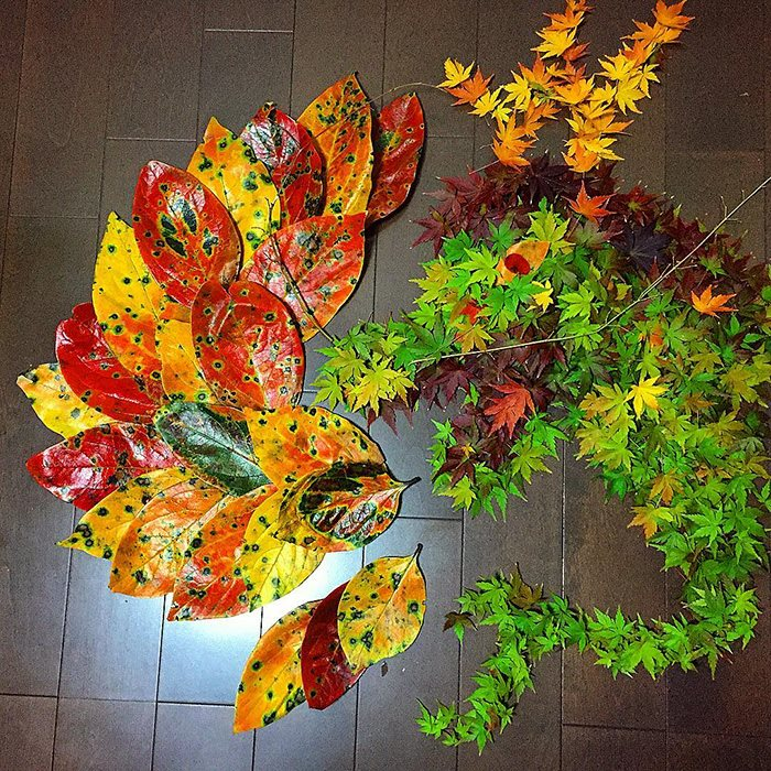 beautiful fallen leaf art japan