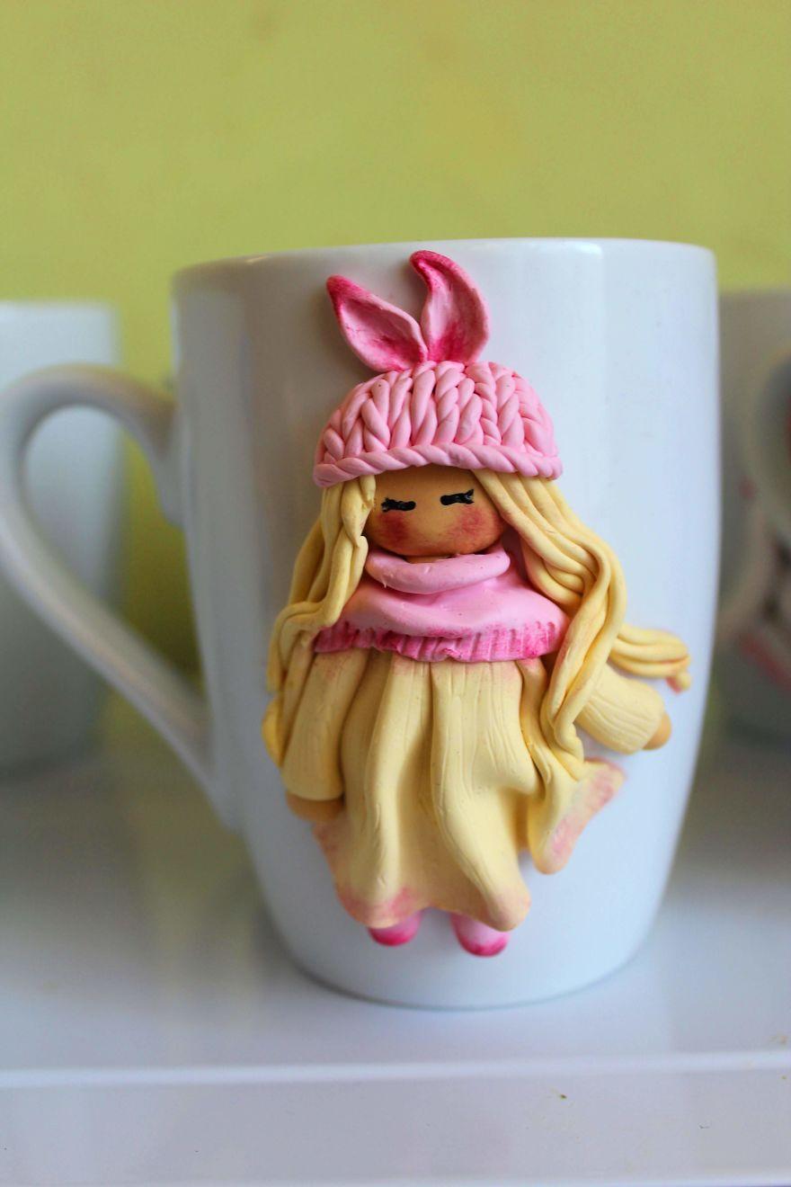 beautiful polymer clay decorated coffee mug milena