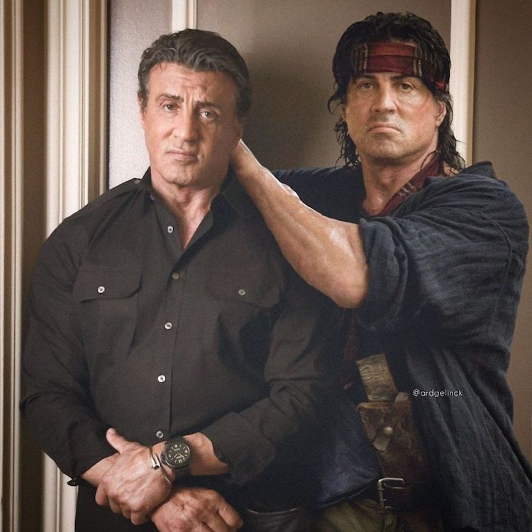 photoshop holywood actors and character sylvester stallone rambo gelinck