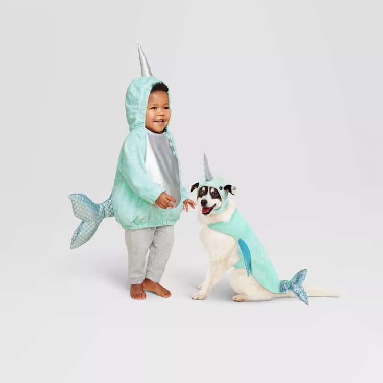 adorable halloween pet costume narwhal dog