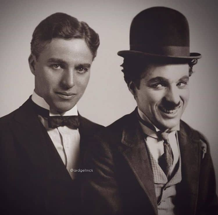 photoshop holywood actors and character charlie chaplin tramp gelinck