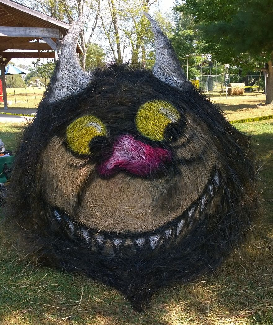 funny halloween hay bale art monster jean marie smith
