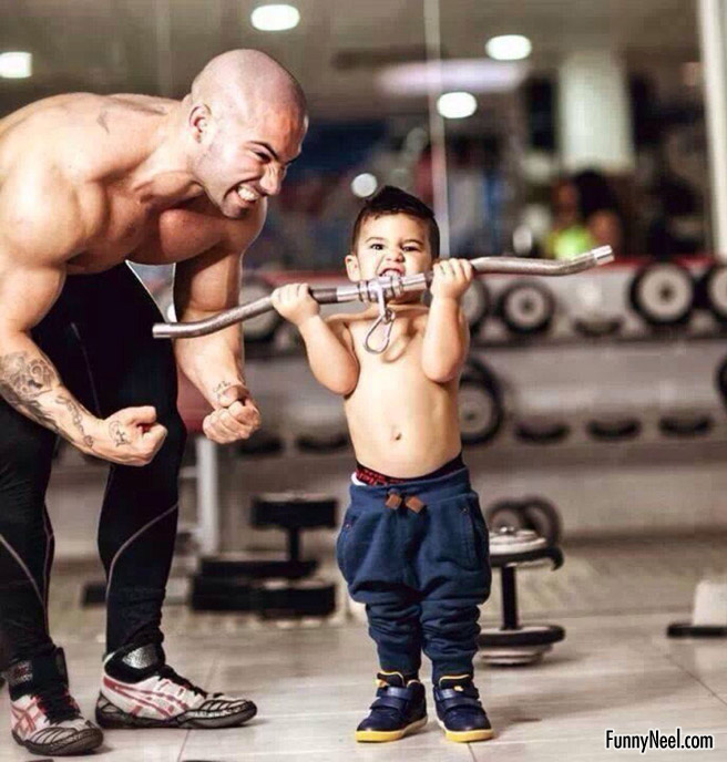 funny picture kids body builder
