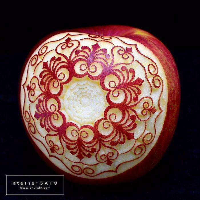 beautiful fruit carving apple tomoko sato