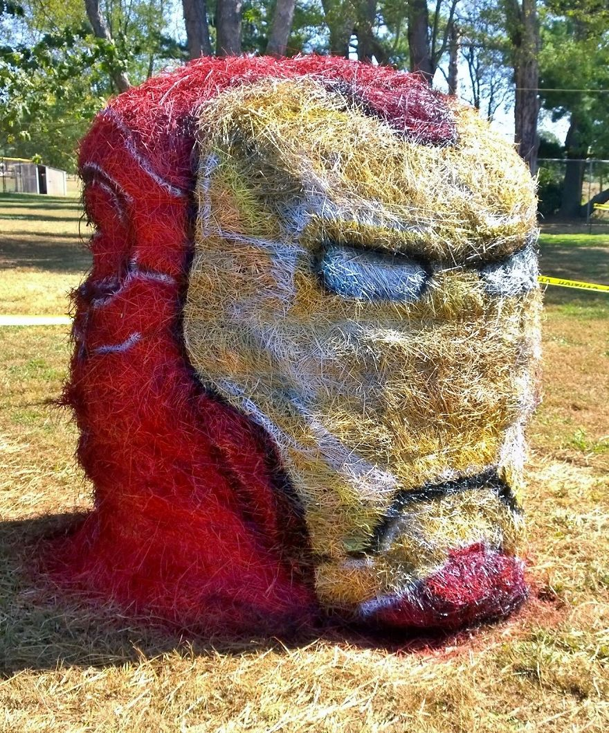 funny halloween hay bale art iron man jean marie smith