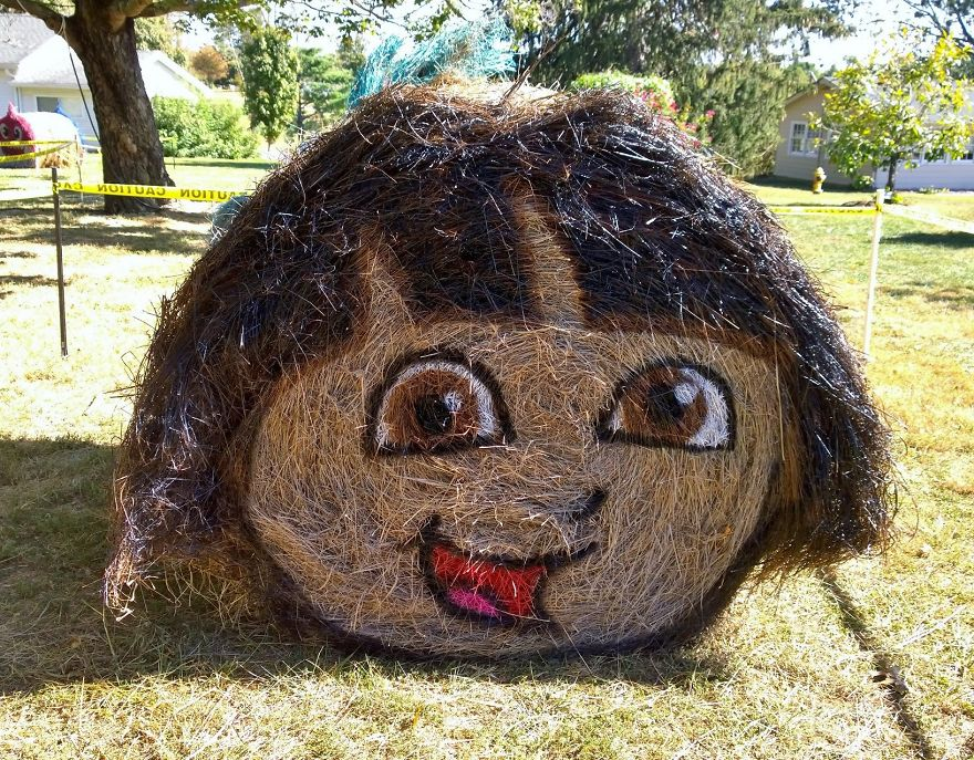 funny halloween hay bale art dora jean marie smith