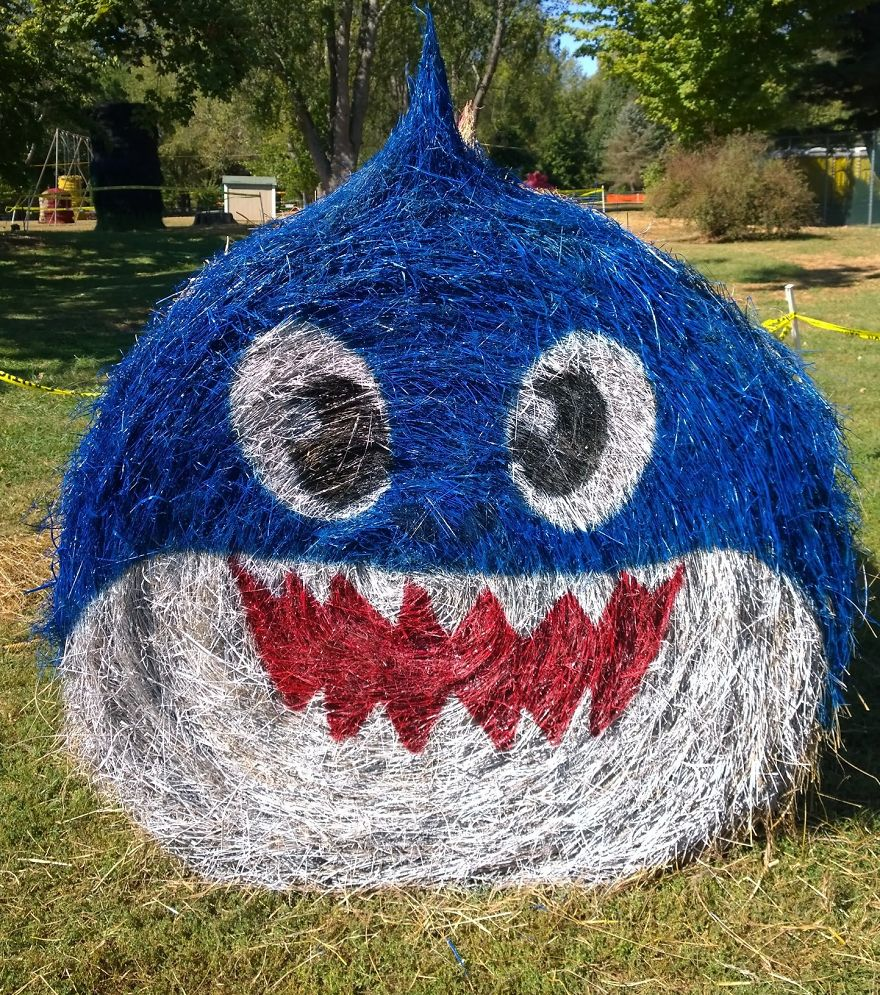 funny halloween hay bale art daddy shark jean marie smith
