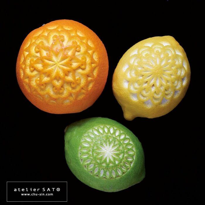 beautiful fruit carving orange tomoko sato