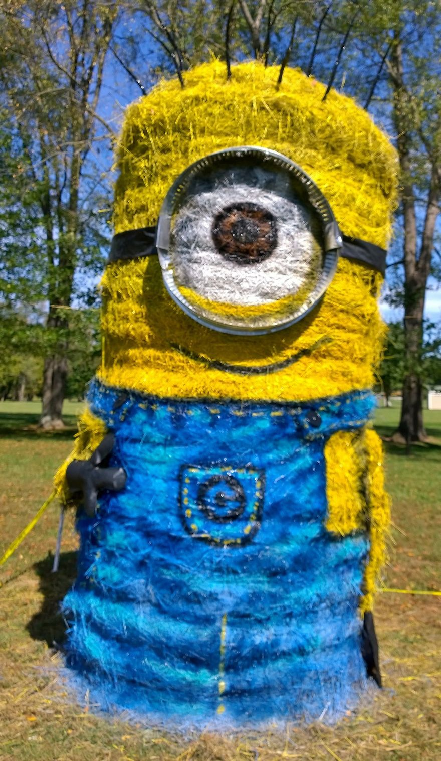 funny halloween hay bale art minion jean marie smith