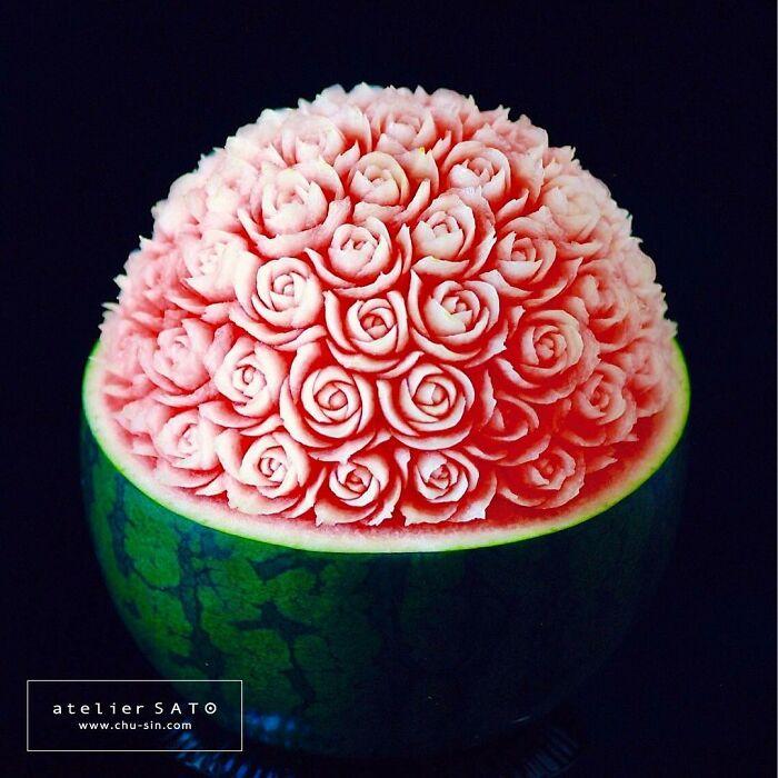 beautiful fruit carving watermelon tomoko sato