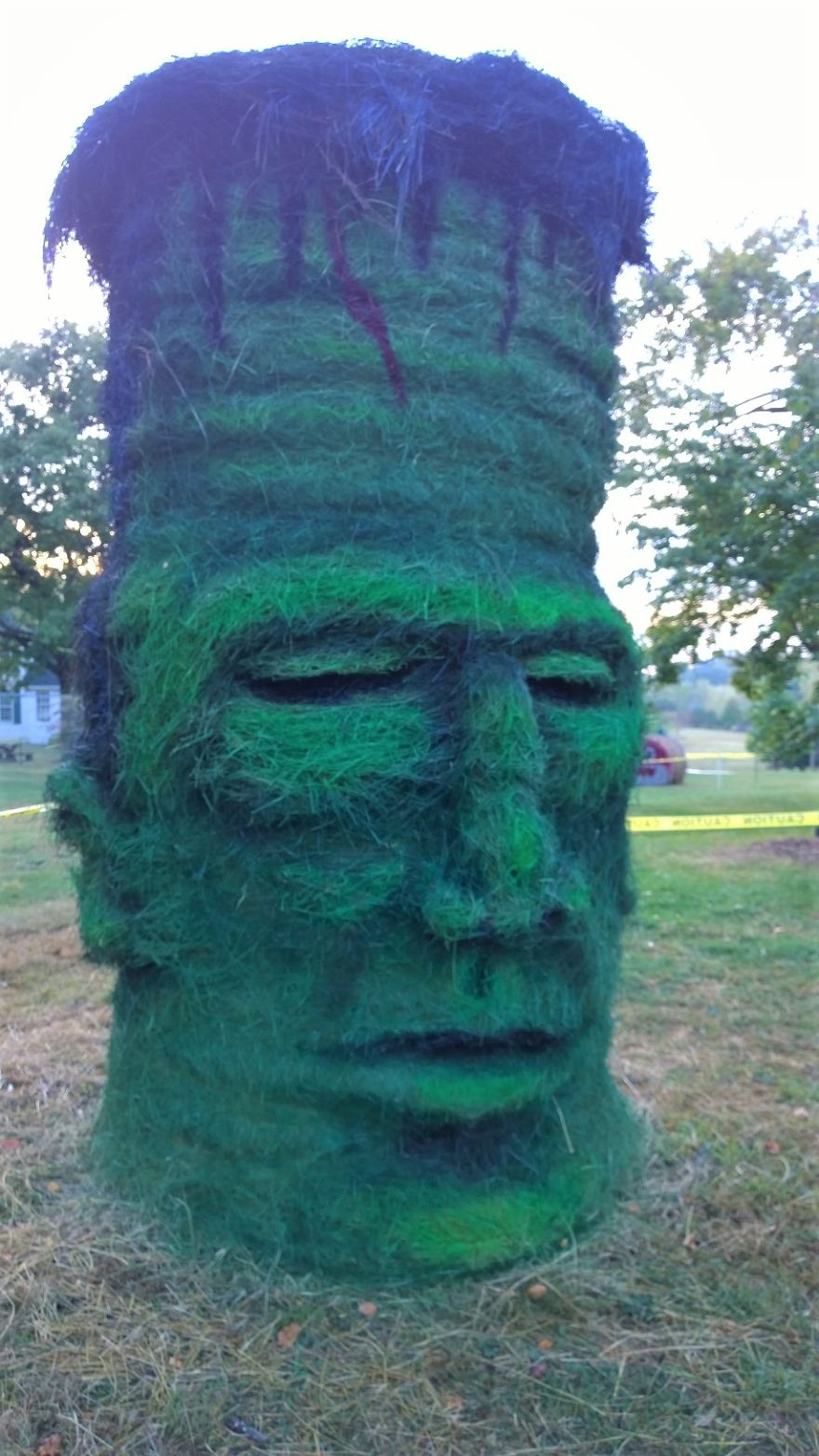 funny halloween hay bale art frankenstein jean marie smith