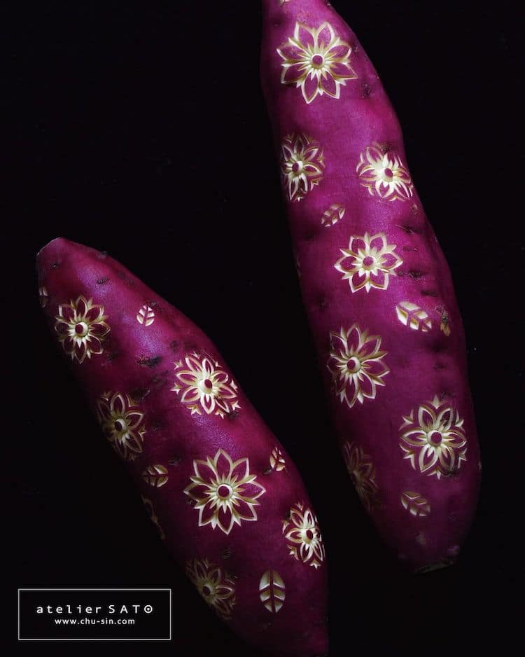 beautiful vegetable carving brinjal tomoko sato
