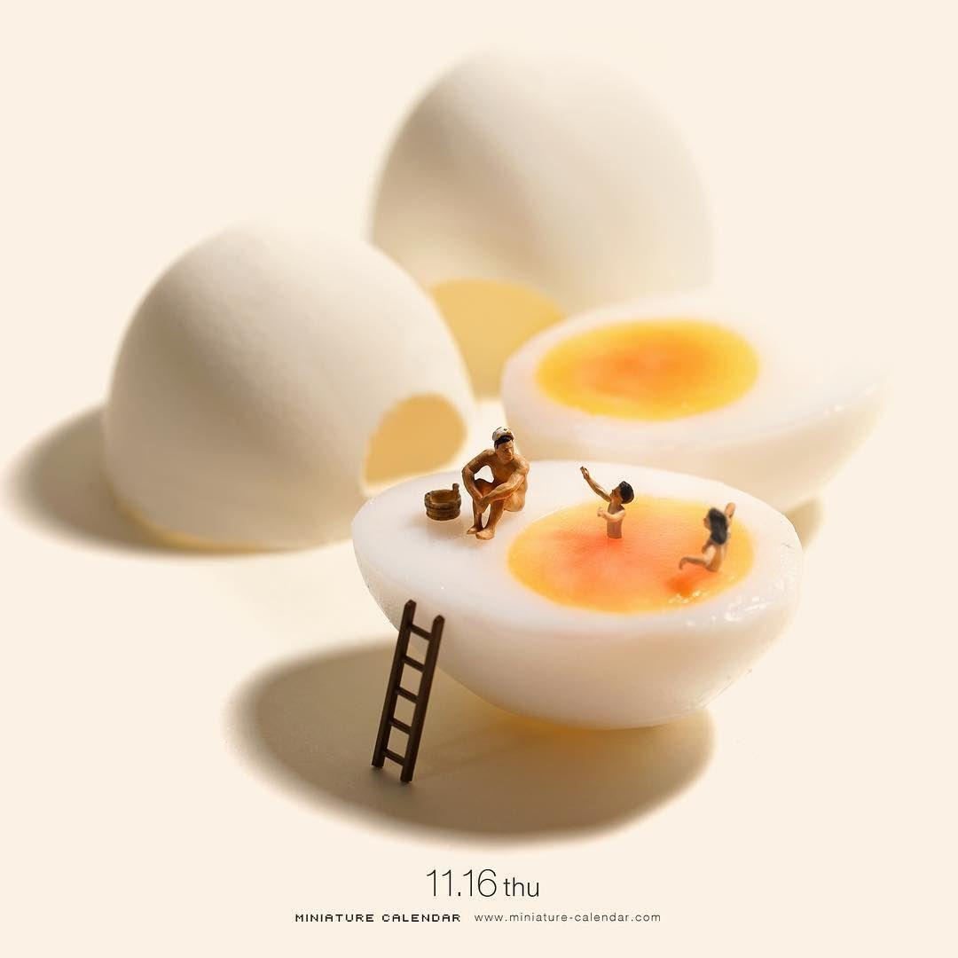 creative miniature calendar egg pool tatsuya tanaka