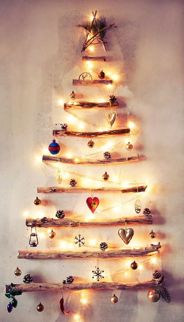 creative wood christmas tree decoration idea