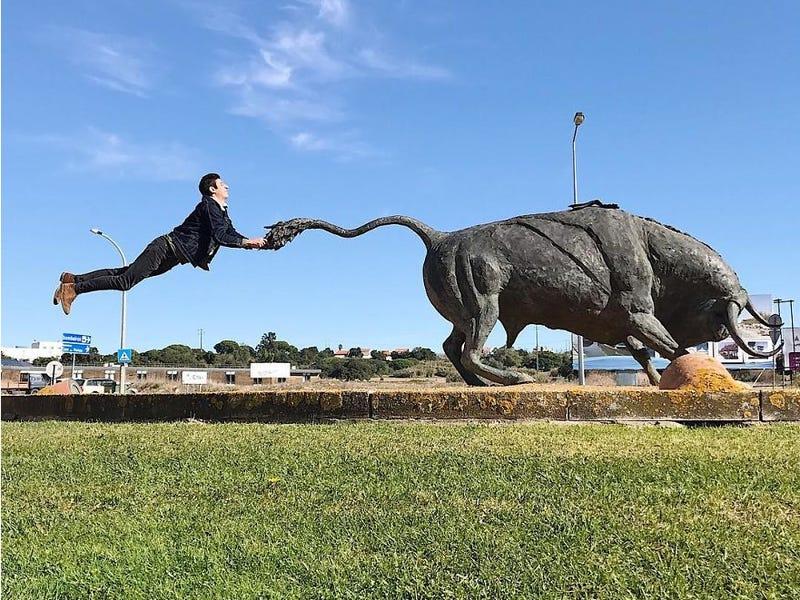 funny photo ideas bull flying tiago silva